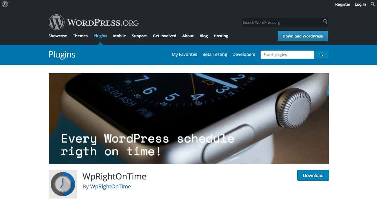 wprightontime wordpress plugin page