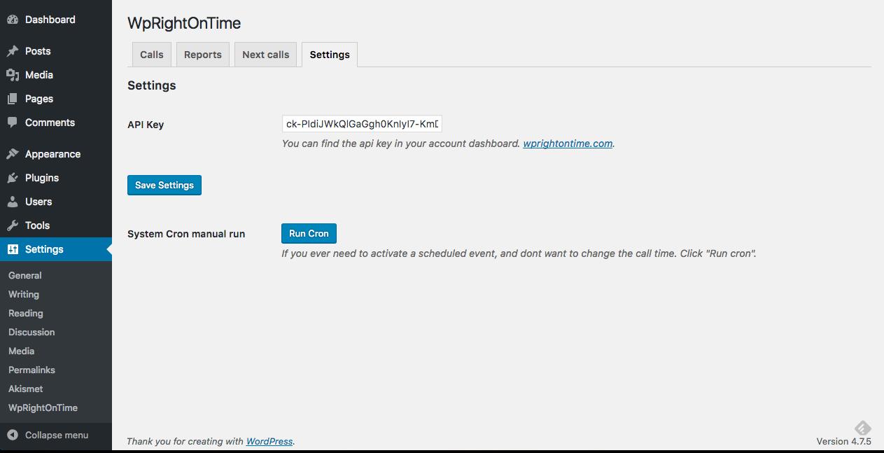 wprightontime wordpress admin options panel